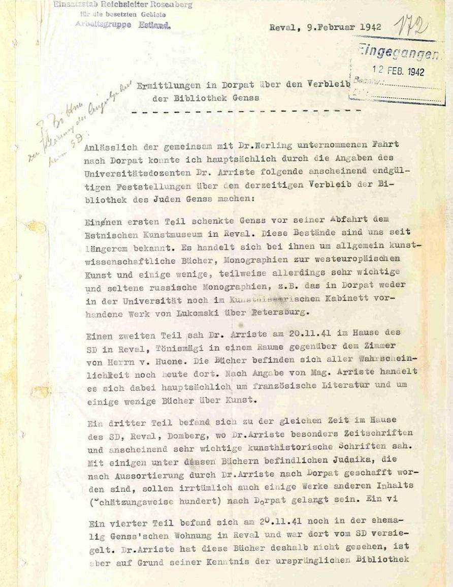 Ermittlungen in Dorpat über den Verbleib der Bibliothek Gens von 12.02.1942