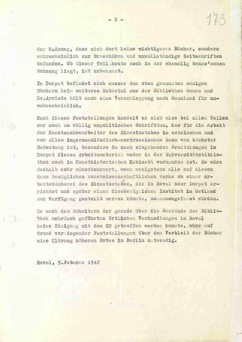 Ermittlungen in Dorpat über den Verbleib der Bibliothek Gens von 12.02.1942.