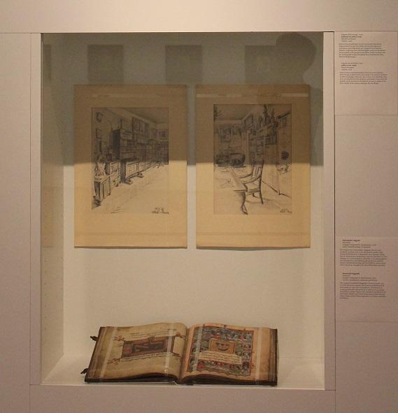 Julius Genss Kabinet (2 x oben) und Darmstädter Haggadah (unten)) Эскизы кабинета Юлиуса Генс (автор: Бетта Пунга) и Дармштадская Хаггада