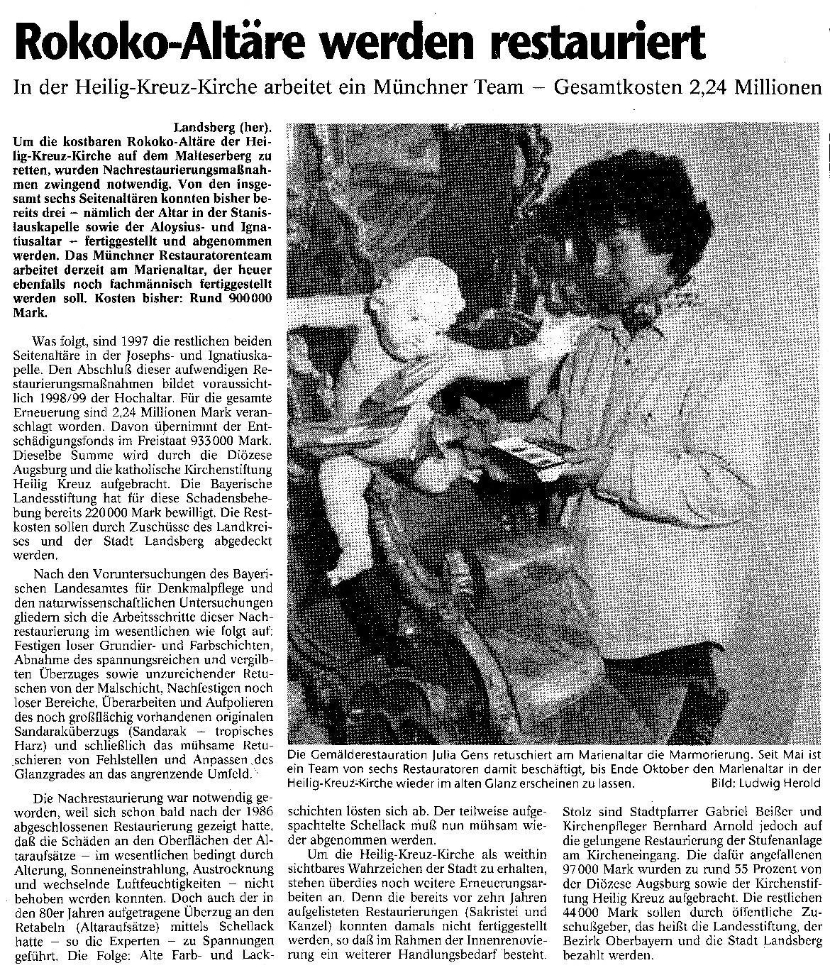 Artickel über Restaurierung von Rokoko-Altären